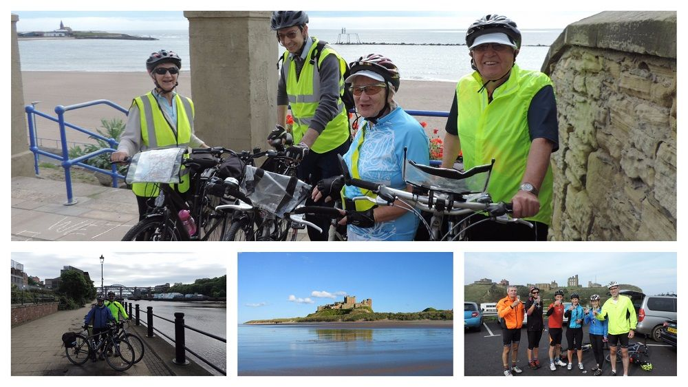 Coast and Castles Collage featuring groups of cyclists on the Coast and Castles cycling route