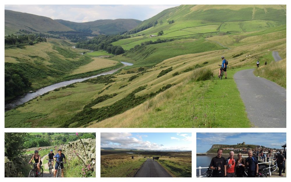 Walney to Whitby Collage of groups of cyclists on the Walney to Whitby route, including the Lune Valley, Orton Fells and Whitby