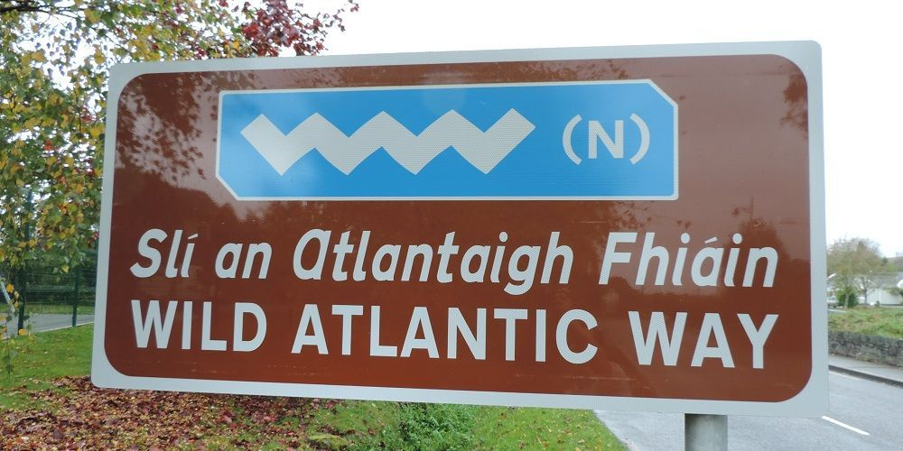 Wild Atlantic Way signpost on Malin to Mizen cycle route