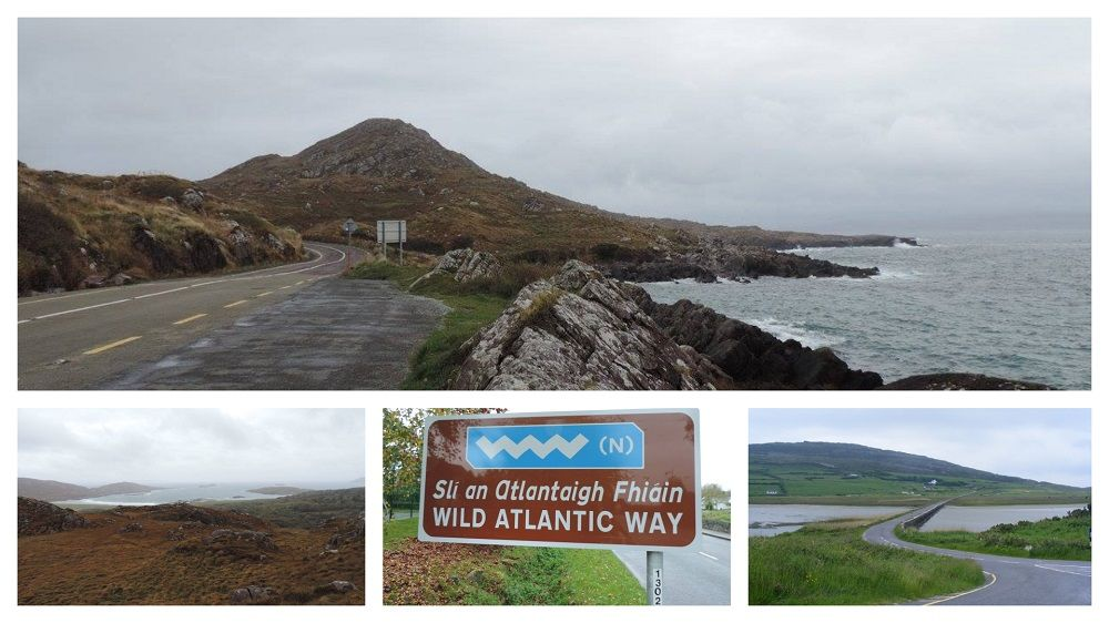 Wild Atlantic Way Cycling Tour collage with a number of images along the route including the sign